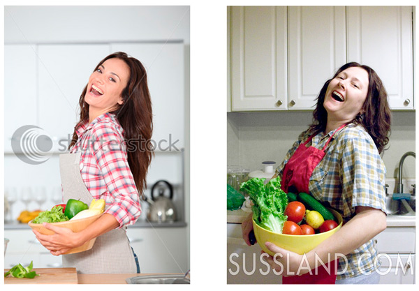 a comparison of stock photo with models in a model environment with actual people